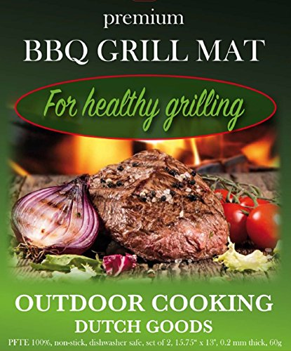 BBQ Grill Mat by Dutch Goods. Healthy cooking and outdoor grilling leaving flavor intact. Reusable, non-stick barbecue sheets for baking on Gas, Charcoal, Weber Grills and Ovens. Set of 2 mats.