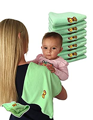 Jet Storm Babies Burp Cloths Bibs 100% Microfibre Baby Cloths for Burping Towels +Travel Towel + Gym Towel Suitable from Birth to Early Adolescence 10 Pack plus 1 Bonus Green Cloth (Yellow)