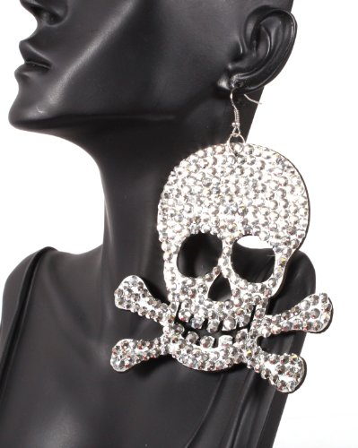 Iced Out Basketball Wives Silver Pirates Logo 4 Inch Drop Earrings Light Weight POParazzi