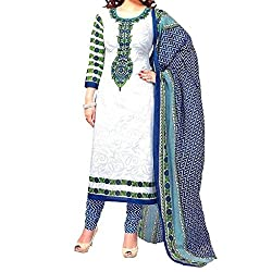 Shree Hari Creation Women's Poly Cotton Unstitched Dress Material (257_White_Free Size)
