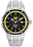 Cat Navigo Carbon Date Men's Quartz Watch with Black Dial Analogue Display and Silver Stainless Steel Bracelet A5.141.11.111