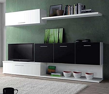 Mueble para salon comedor con varios compartimentos blanco y negro. Modulo tv television