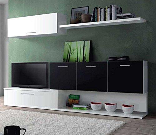 Mueble para salon comedor con varios compartimentos blanco y negro ...