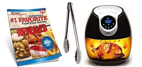 Power Air Fryer XL 1700 Watts 5.3 Quart Air fryer - Includes, Inner Basket with Divider, Deep Baking Pan, Full Color Recipe Book, and Oil-misting Spray Bottle - Bonus of a Heavy Duty Utility Tong (Partition Frying Pan compare prices)
