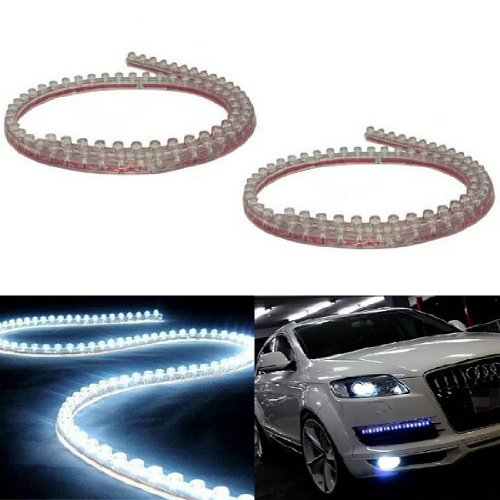 (2) iJDMTOY 20 inches 48-LED Flexible LED Strip Lights For Headlights, DRL, Xenon White (Led Light Strip For Headlights compare prices)
