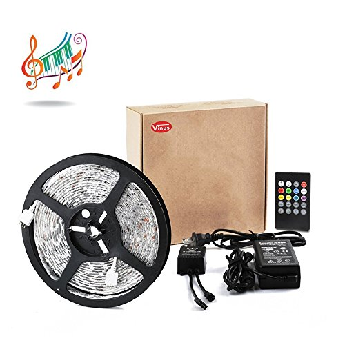 Vinus® IR Music Sound Activated 5M 5050 RGB Waterproof 300LEDs RGB Flexible Color Changing LED Strip Kit with 20-key Music Sound Sense IR Controller + 12V 5A Power Supply For Xmas Lighting Indoor Outdoor Backlighting Wedding Decoration (Led Light Strips Music compare prices)