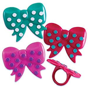 Dress My Cupcake DMC41M-800SET Bows Ring Decorative Cake Topper, Girl, Assorted, Case of 144