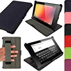 iGadgitz Navy Blue Leather Case Cover for New Google Nexus 7 FHD Android Tablet 16GB 32GB 4G LTE 2013 Model 2nd Gen Generation (released Aug 2013). With Sleep/Wake Function, Integrated Hand Strap + Screen Protector