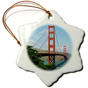 Sandy Mertens Golden Gate Bridge San Francisco Snowflake Porcelain Ornament, 3-Inch