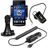 Original q1 Starter Set 3in1 für Nokia X7-00 X 7 E6-00 C2-01 C5-03 C6-01 Halter Halterung Halter Autohalterung + Bluetooth Headset + Kfz Ladekabel Autoladekabel