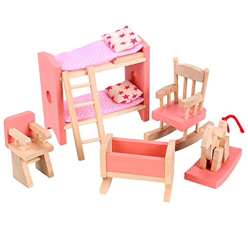 Arshiner Happy Family Furniture Dollhouse Bunk Bed Chairs Rocking Horse Room Set Wooden Toy for Kids