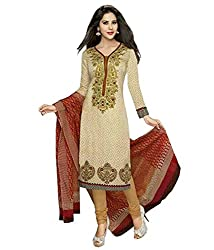 SDM Women's Crepe Printed Dress Material Unstitched (337, Beige, Free Size)
