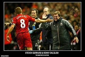 Kenny Dalglish Steven Gerrard Signed Liverpool Autograph Print - Half Price