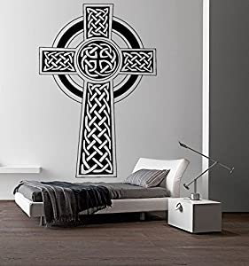 Celtic cross wall decal celtic knot decals wall vinyl for Celtic bedroom ideas