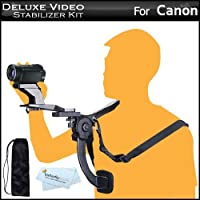 Deluxe Hands Free Video Shoulder Mount Stabilizer Support Rig + Carrying Case For Canon VIXIA HF G10 HF M32 HF M40 HF M41 HF R20 HF R21 HF S21 HF S30 HV40 HF M400 HF R200 HD Flash Memory Camcorder