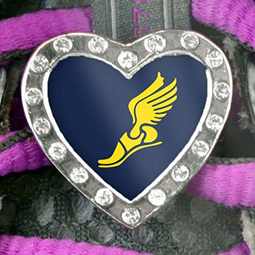 Rhinestone Heart Shaped Shoe Lace Charm Winged Foot (Yellow) toddler shoe gauge children foot measurer yellow