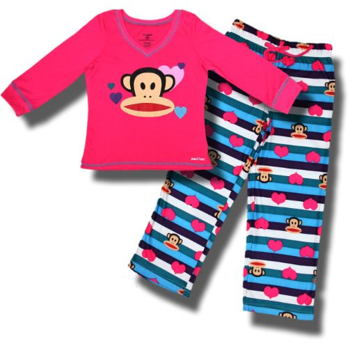 """Paul Frank / Julius The Monkey """"Silly Stripes"""" 2 Piece Pajamas For Girls - Large (10/12) front-1030379"""