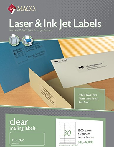 Maco laser ink jet matte clear address labels 1 x 2 5 8 for Maco laser and inkjet labels template