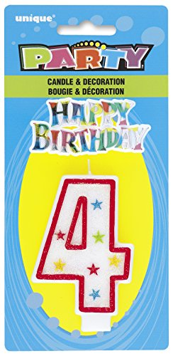 Cake Decoration #4 Glitter Birthday Candle (1ct) - 1