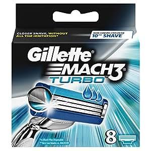 Gillette Mach3 Turbo Refill Razor Blades, 8 Blades