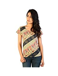 Jaipur RagaDesigner Printed Multicolor Ethnic Cotton Top White Cotton Kurti
