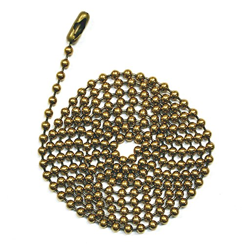 3 Foot Length Ball Chains, #6 Size, Antique Brown, with Matching Connectors (3 Pack) (Fan Pull Chain Extension compare prices)