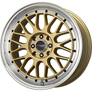 """Drag D44 Gold Wheel with Machined Lip (17x7.5""""/5x100mm)"""