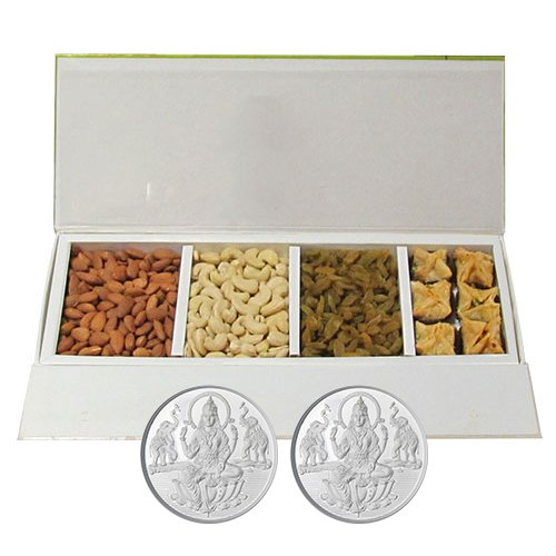Chocholik Belgium Chocolates - Heavenly Treat Of Almonds, Cashew, Raisin And Baklava Box With 5gm X 2 Pure Silver...