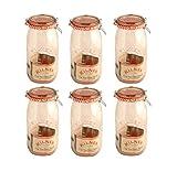 6 x Kilner Clip Top Glass Storage Jar - Round 1.5 Litre