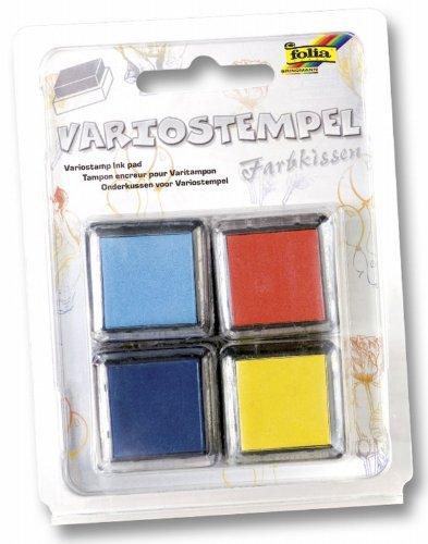 Folia 30172 - Variostempelkissen Set III 4 Stück, 34 x 34 mm, farbig Sortiert