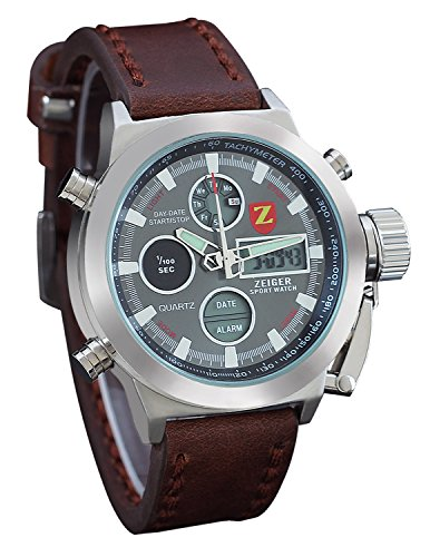 Zeiger-Mens-Unusual-Vietnam-Military-Sport-Wrist-Watch-Forces-Marine-Corps-Swiss-Army-Big-face-for-Boyfriend-Dual-Time-Leather-Band