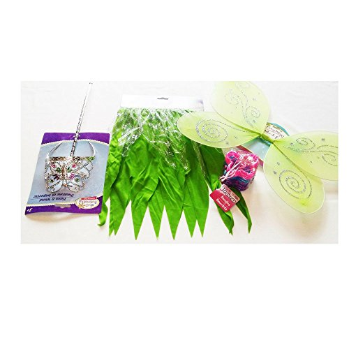[Girls Halloween Tinker Bell Costume with Fringe Skirt, Wings, Tiara, Wand and Bangles] (Tinker Bell Child Tiara)