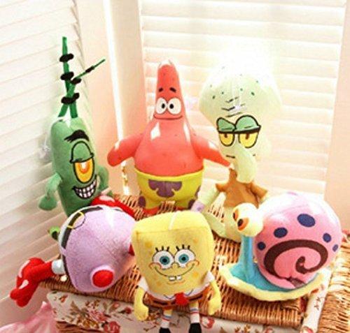6PCS Spongebob Set Stuffed Plush Sponge Bob/Patrick/Crab/Plankton/Octopus/Snail Dolls Kids Toys Best Brinquedos For Children by sunya shop