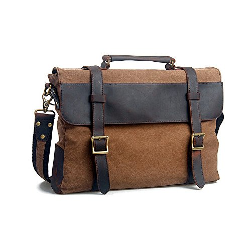 Jam_Closet Fb8003 Cotton Canvas Genuine Leather Cross Body Laptop Messenger Shoulder Bag Briefcases, Gift Idea (Coffee)