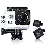 DBPOWER Waterproof Action Camera 12MP 1080P HD with 2 Batteries and Free Accessories Kit(White)