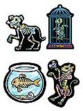 Tag der Toten Skelett Tiere Cutouts Halloween Party Deko Set bunt 41cm