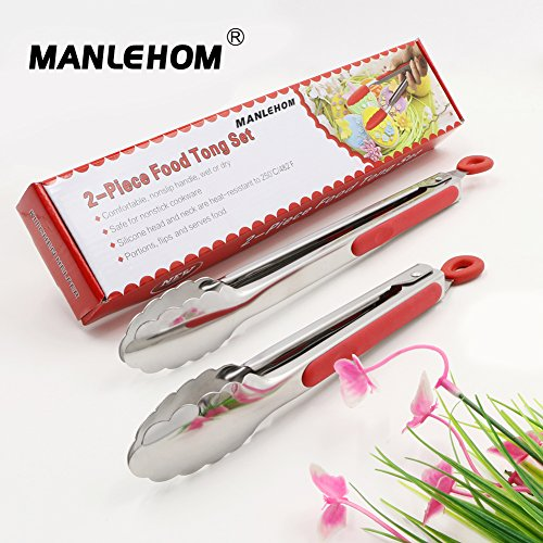 Manlehom kitchen tongs set with stainless steel tips 9 for Kitchen set node attributes