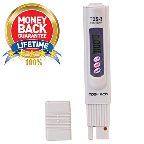TDS Meter for Best Water Quality by TDS-Tech Measure Range 0-9990ppm, 1 ppm resolution, ±2% Accuracy! With Digital Thermometer for Temperature. Ideal for Water Hardness. Test your Drinking Water Now (Zero Water Thermometer compare prices)