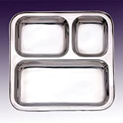 King International Stainless Steel Three Compartment Square Plate / Thali/ Mess Tray/ Dinner Plate Set of 1 pcs- 24.5 cm each