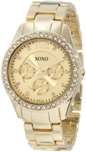 XOXO Womens XO5475 Gold-Tone Bracelet With Rhinestones Accent Bezel Watch