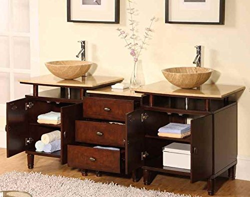 Cool  in Lydia Double Sink Bathroom Vanity in English Chestnut