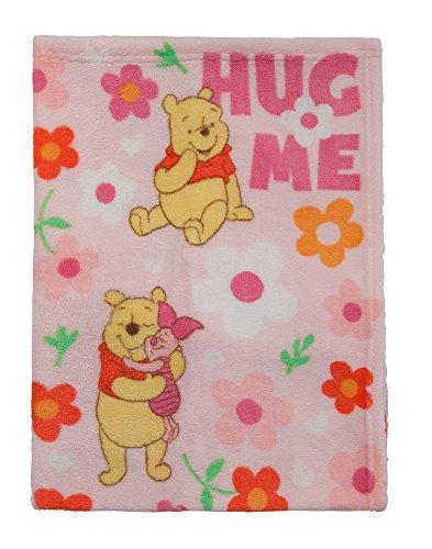 Disney Winnie The Pooh Plush Printed Baby Blanket, Pink - 1