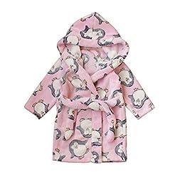 Yanzi6 Unisex-baby Fleece Warm Bath Robe Hooded Pajamas Children\'s Sleepwear (90cm, Pink-Penguin)
