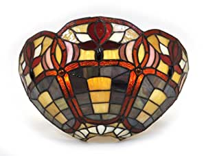 Exciting Lighting AMB3004 Battery Powered Stained Glass Half Moon With Floral Rim LED Wall Sconce with Remote Control