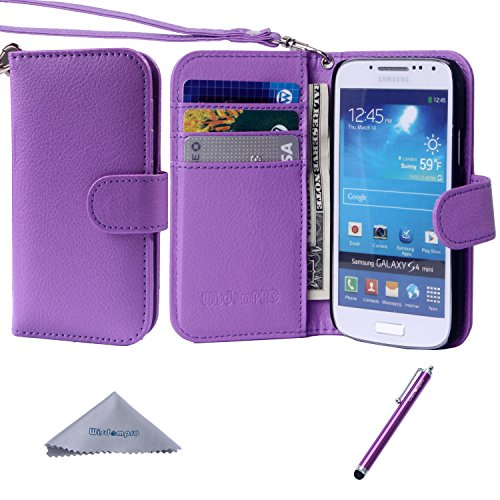 S4 Mini Case, Wisdompro Premium PU Leather 2-in-1 Protective [Folio Flip Wallet] Case with Credit Card Holder/Slots and Wrist Lanyard for Samsung Galaxy S4 Mini (NOT S4 FIT) - Purple (Samsung Galaxy S4 Mini Folio Case compare prices)