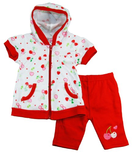 Coney Island Baby Girls Cherry Love Hooded Zipped Top With Capri Set 6-9M Reds front-946673