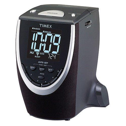 automatic time set clock radio timex t313b auto set dual alarm clock radio black. Black Bedroom Furniture Sets. Home Design Ideas