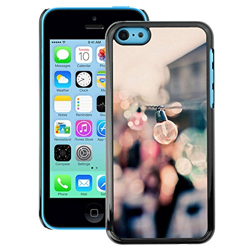 A-type Colorful Printed Hard Protective Back Case Cover Shell Skin for iPhone 5C (Party Bulbs Docks Port Summer Focus Blur)