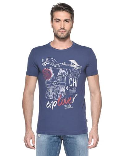 Love Moschino T-shirt M/C + Stampa Safari Gui [Blu]