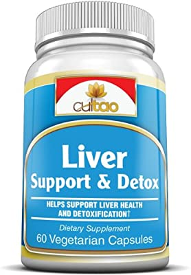 Premium Liver Support & Detox Cleanse Supplements w/ Milk Thistle, N-Acetyl-Cysteine, Turmeric Root Extract, Dandelion Root Extract, Vitamin C & B And More - 100% Natural Complete Herbal Formula To Support Liver Health & Function - 60 Vcaps - Vegetarian F